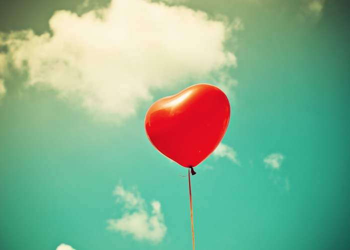 heart balloon in sky