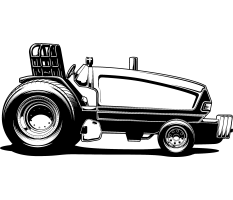 black pulling tractor