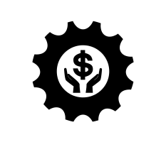icon with hand holding dollar sign in cog