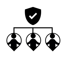 icon with shield and employees