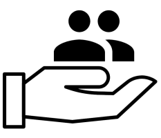 Hand holding people icon signifying claim support