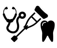 icon with tooth, crutches and stethoscope