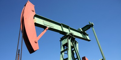 red and green pump jack