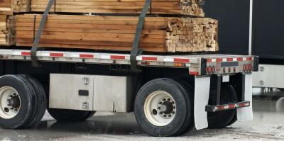 lumber on back of lumber truck