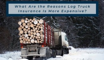 log truck on snowy road with blog title